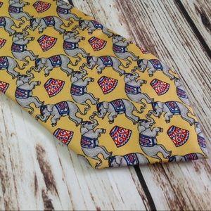 3/$10🛍 Beaufort Tie Rack Yellow Elephant Silk Tie